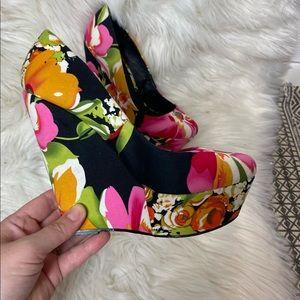 Aldo Floral Multi Color Elegant Herena Wedge